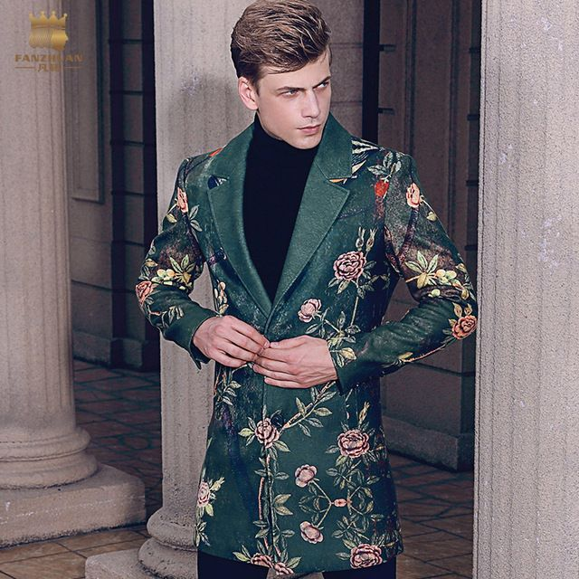 Free Shipping fanzhuan New 2017 fashion casual man male Men's Winter printed suit style collar hair green long coat 710172