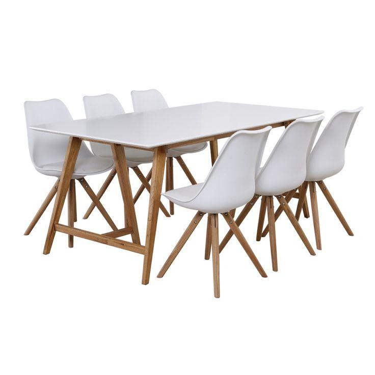 Durham matbord 180 med 6 st vita Lilly Stolar i gruppen Möbler / Bord / Matgrupper hos Chilli AB (SA000182)