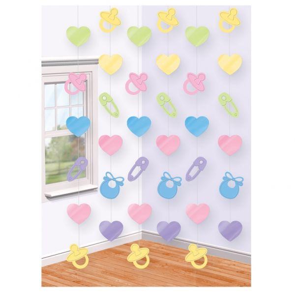 Dekoracja wisząca Baby Shower składająca się z 6 łańcuchów mocowanych na żyłce.  Doskonała dekoracja na przyjęcie z okazji narodzin lub roczek dziecka.