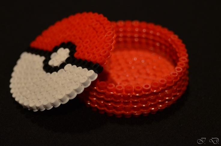 Hama    Perler Beads Mini Box Pokeball Made By Isa D