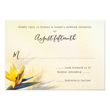 Bird-of-Paradise Hawaiian Flowers Reply Cards - wedding invitations diy cyo special idea personalize card