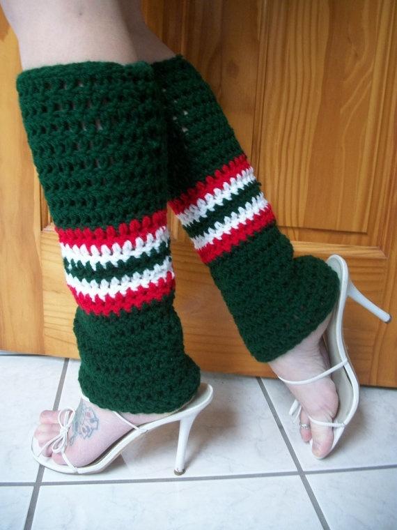 Minnesota Wild hockey sock style leg warmers by TJCrochetCreations at Etsy.