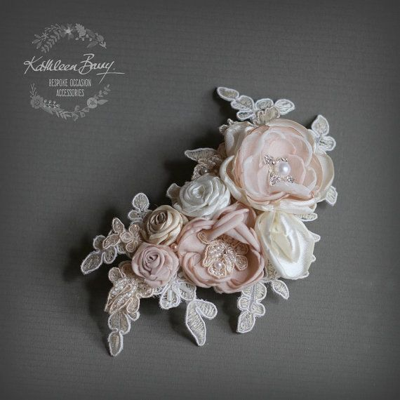 Bridal hairpiece floral lace - veil comb wedding hair accessory - ivory champagne or blush pink tones STYLE: Liesl