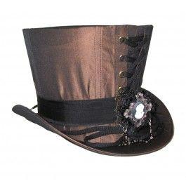 Chapeau Haut de Forme 18cm Rétro Steampunk Camé