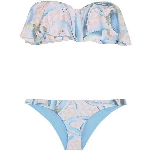 Mara Hoffman Ruffled printed bandeau bikini found on Polyvore featuring swimwear, bikinis, swimsuits, bikini, mara hoffman, pink, bikini swimsuit, bikini swimwear, bandeau swimsuit and pink bathing suits