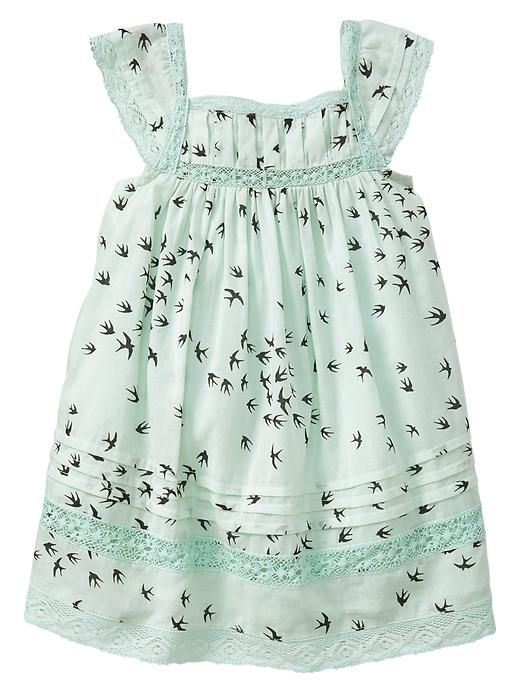 Just bought this dress & white denim jackets for Eden for our family pictures. Oh how I love this dress!   Baby Gap 2014 Bird Print Crochet Trim Dress in Quince