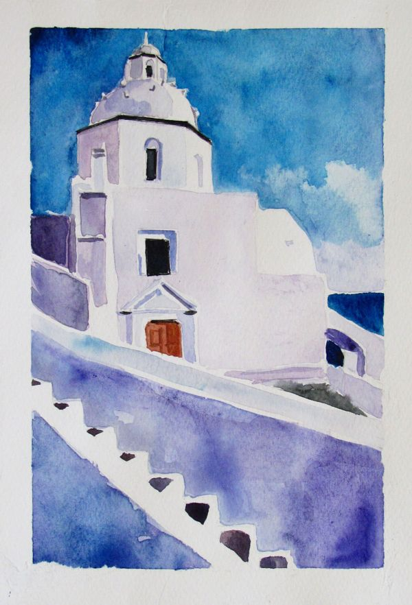 Santorini Cycle (watercolors) by Iva Ivanova, via Behance