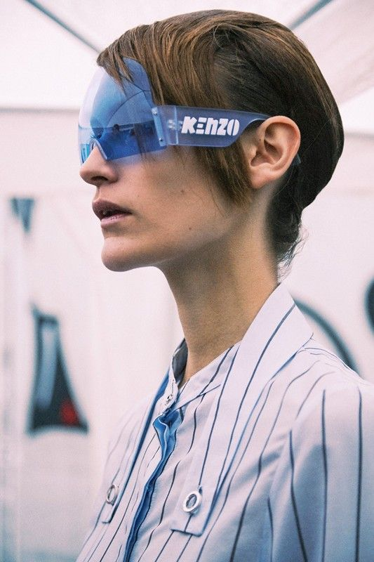 Futuristic sunglasses backstage at Kenzo SS15 PFW. More images here: http://www.dazeddigital.com/fashion/article/21976/1/kenzo-ss15