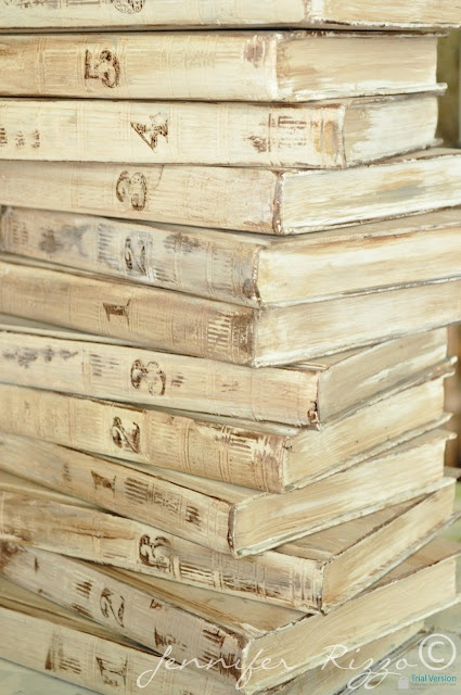 Jennifer Rizzo: Repurpose old encyclopedia's into aged display books.....