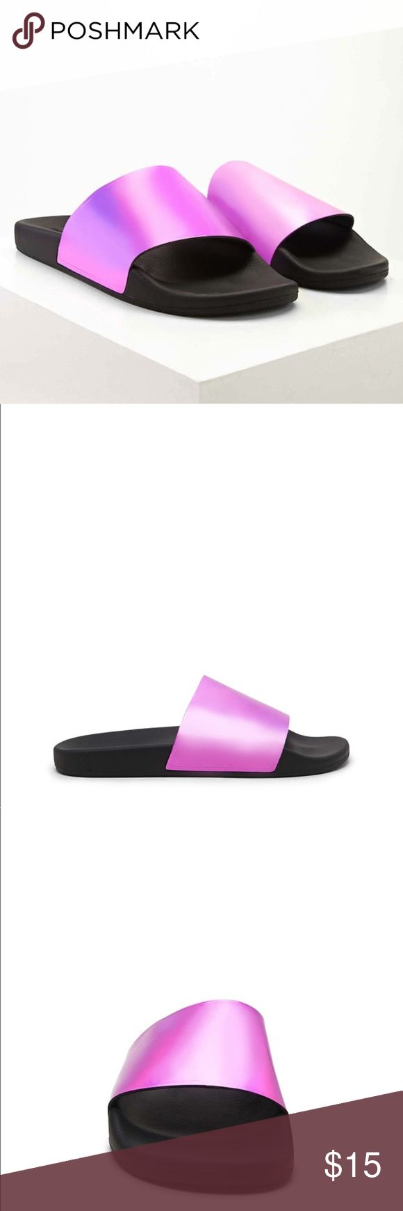 """Metallic Slippers A pair of slides featuring a metallic upper and soft rubber lining and sole. Worn Once                  - THE DETAILS:                                                         - 1"""" platform                                                              - 100% polyester lining Forever 21 Shoes Sandals"""