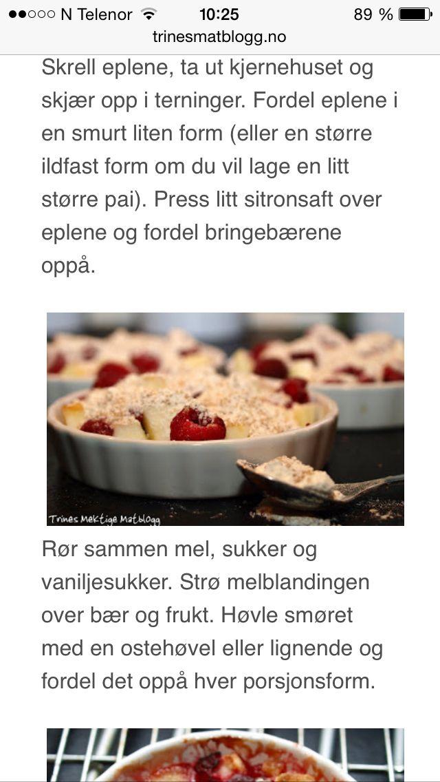Enkel smuldrepai m.epler & bringebær, trines matblogg 4