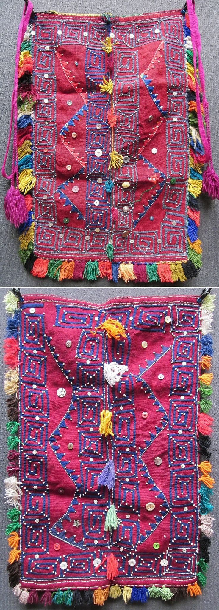 Two traditional woollen 'önlük' (woman's aprons) from the western part of the Sivas province.  Rural, Alevi-Türkmen, mid-20th century.  Adorned with (cotton) patchwork, orlon tassels, bottons and glass pearls.  (Inv.nr. önL001&005 - Kavak Folklor Ekibi & Costume Collection-Antwerpen/Belgium).