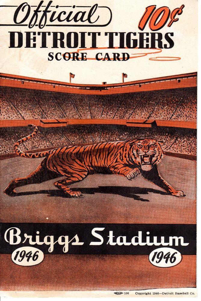 1946 (Aug. 17)  Baseball program, St. Louis Browns @ Detroit Tigers ~ scored