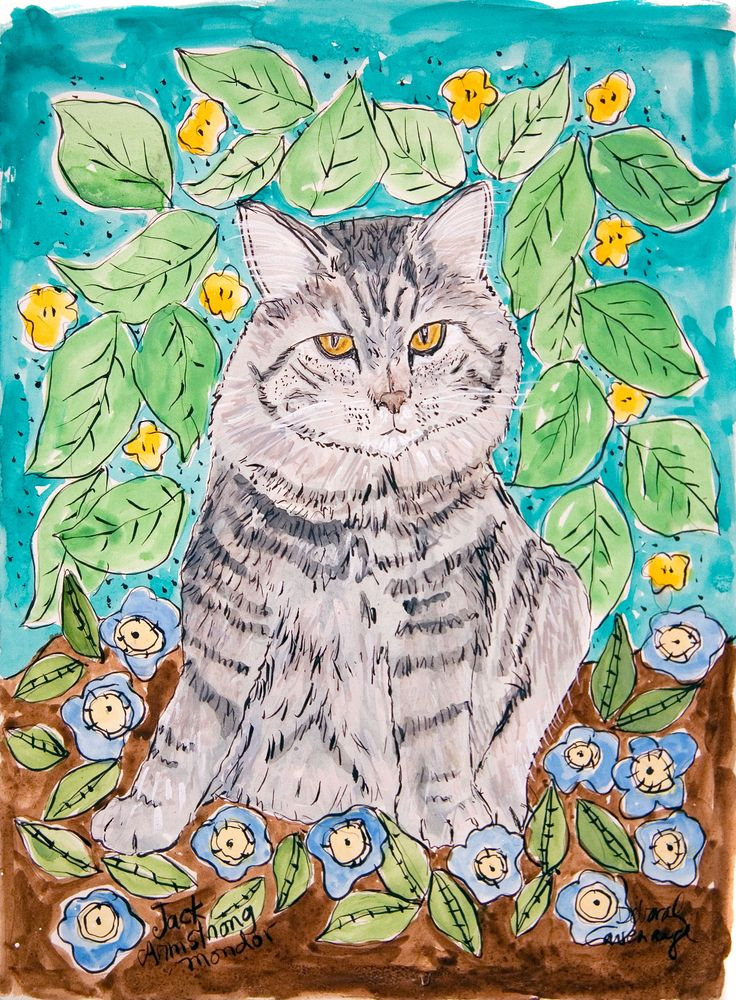 This pretty Maine Coon Cat lived in Saco Maine where she hung out in the flower garden.  More info at http://www.DeborahCavenaugh.com