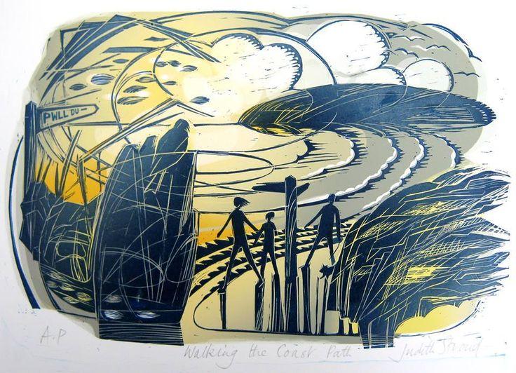 """Walking the Coast Path"" by Judith Stroud (lino print)"