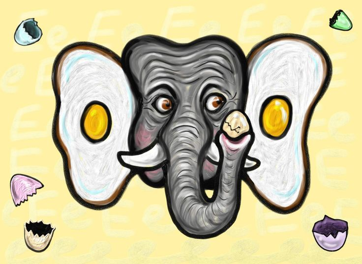Eddie the elephant ate many eggs. He left empty eggshells everywhere. He ate so many eggs, that his ears turned into eggs!