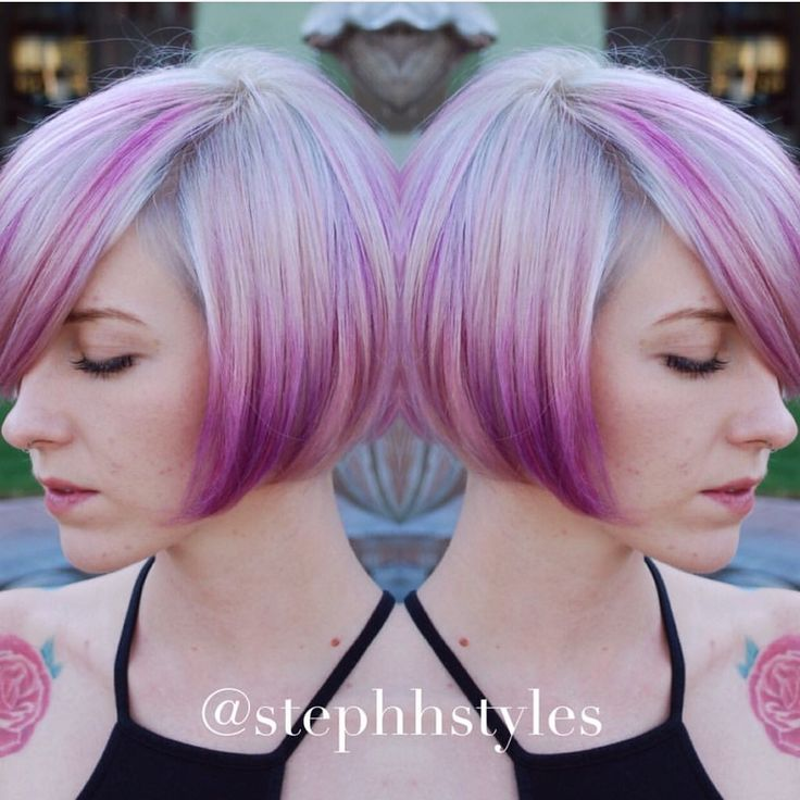 Silver blonde to purple hair color melt with cute bob ...