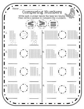 BASE TEN BLOCKS AND COMPARING NUMBERS FREEBIE - TeachersPayTeachers.com