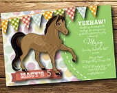 Cowgirl Horse Theme- Birthday Party Invitation, Digital or Printed