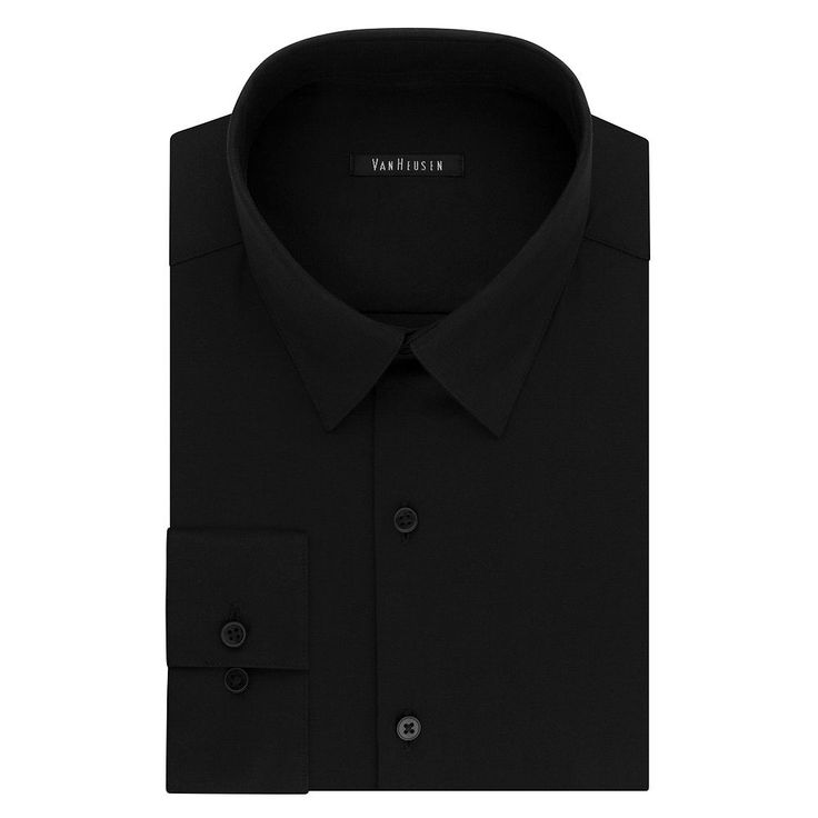 Big & Tall Van Heusen Flex Collar Slim Tall Dress Shirt, Men's, Size: 17.5 35-36, Black