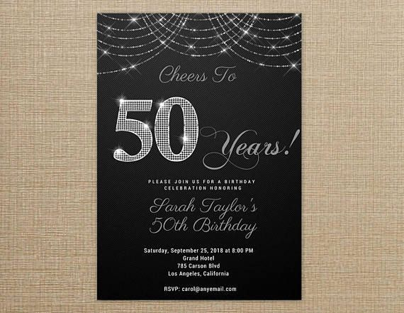 Cheers To 50 Years Invitation Black And Silver ANY AGE WORDING 50th Birthday