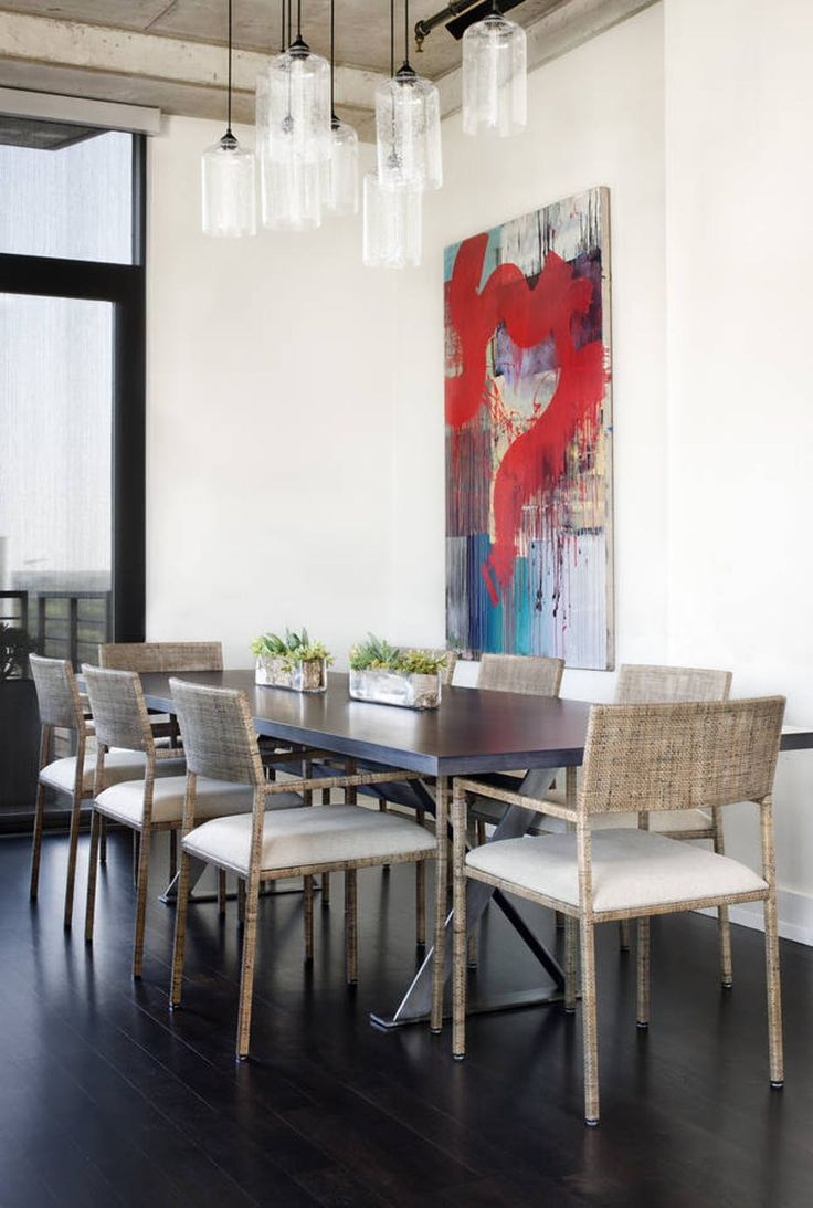 58 best dining room lighting images on pinterest aurora black dining room table lighting shimmers in sunny austin loft geotapseo Images