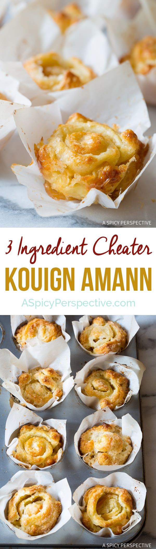 "Fabulous 3-Ingredient ""Cheater"" Kouign Amann Recipe on ASpicyPerspective.com"