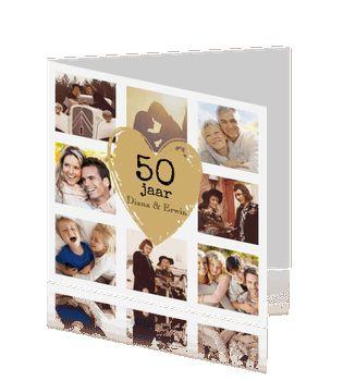 Hippe jubileumkaart fotocollage 50 jaar getrouwd