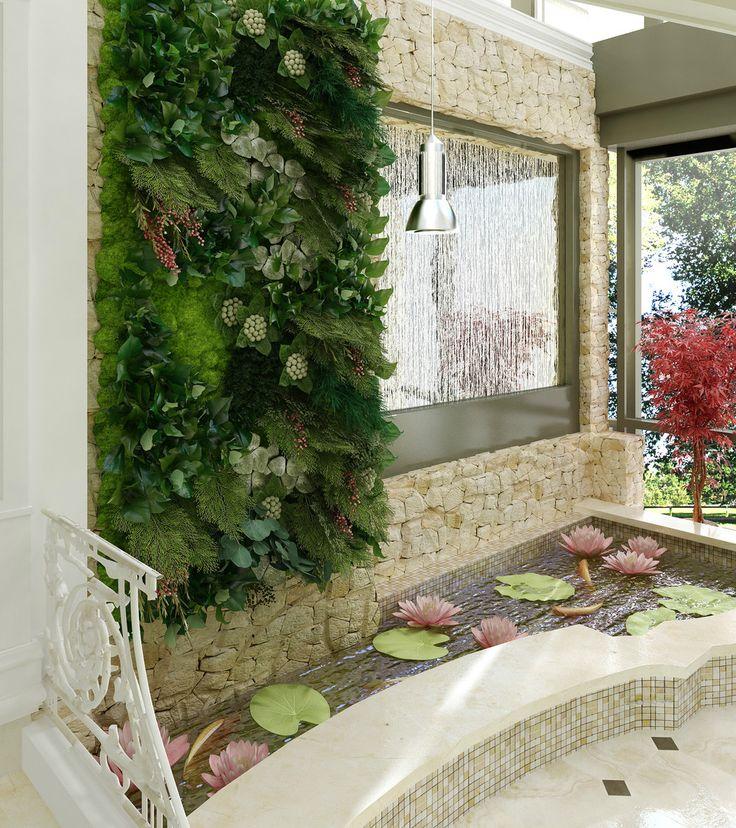 Зимний сад с прудиком для карпов КОИ. - Вертикальное озеленение интерьера (3D) | PINWIN - конкурсы для архитекторов, дизайнеров, декораторов