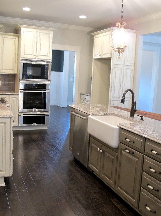 Grey Bottoms White Tops Beautiful Kitchens Pinterest White Glazed Cabinets Distressed