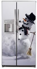 Good Happy Snowman Magnetic Side By Side Refrigerator Covers