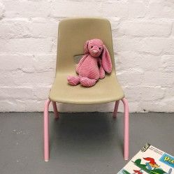 Childs vintage school chair with pink legs www.vintageactually.co.uk