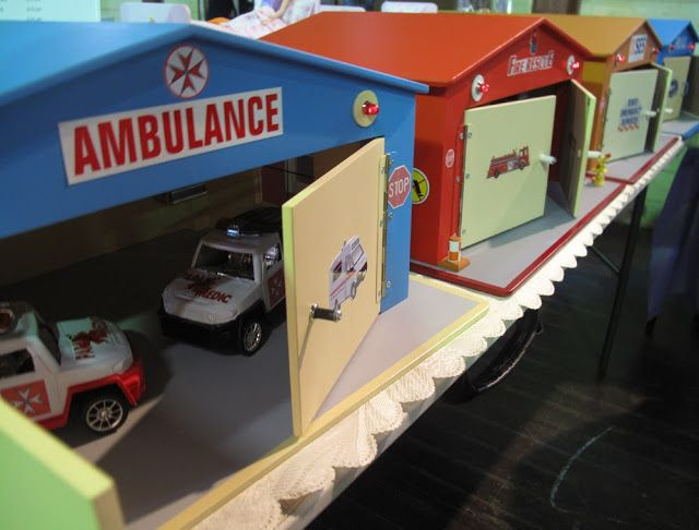 Traditional Wooden handmade toys for boys, ambulance garage, Fire station & police station