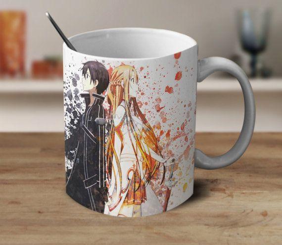 Kirito und Asuna Becher, Schwertkunst Online, Schwert-Kunst Online-Anime-Geschenk, Schwert Kunst Online-Aquarell-Becher, Kaffeebecher zum Anime, Farbe wechselnden Becher,