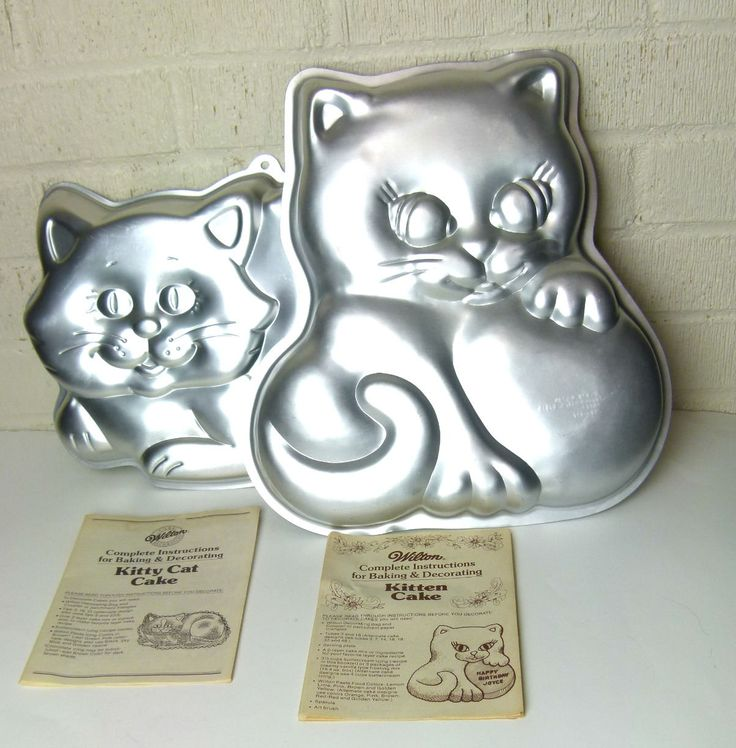 Wilton Kitty Cat Cake Pan and Wilton Kitten Cake Pan - Instruction Booklets Included by TheEclecticBazzar on Etsy