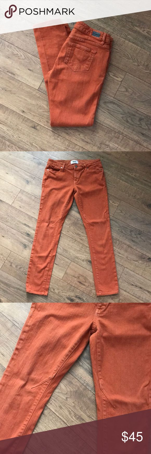 """Paige Troy Boy Jeans Paige Troy Boy jeans in a burnt orange color that is perfect for fall. Size 26 with a 28.5"""" inseam. Pair with a neutral top for a simple, chic outfit. Mid rise, Skinny slouchy with darting at knee. PAIGE Jeans Boyfriend"""