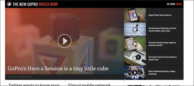 great example of how a selection of videos can be displayed on the homepage