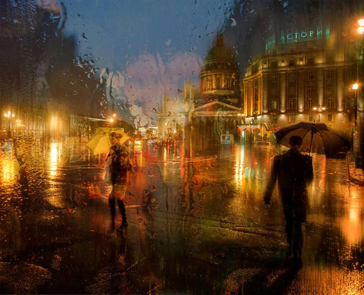 Rainy Day Pictures Look Like Oil Paintings  Russian photographer Eduard Gordeev based in basé à Saint-Petersburg creates urban pictures during rainy days. Street scenes are caught through a window to take the effect produced by the rain drops on it. Creations offer a result that is closed to oil paintings.            #xemtvhay
