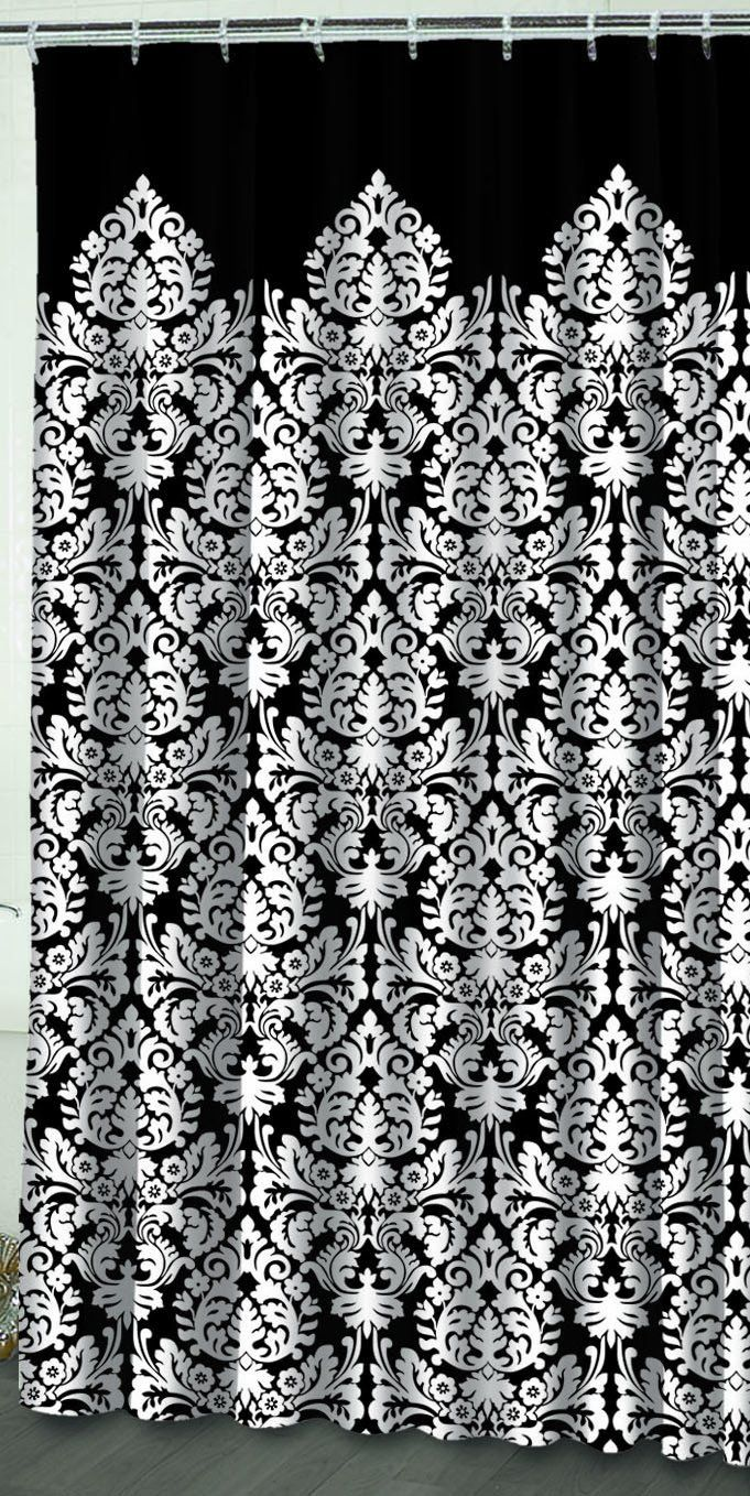 Black and white damask shower curtain - Waverly By Famous Home Fashions Essence Black Damask Shower Curtain