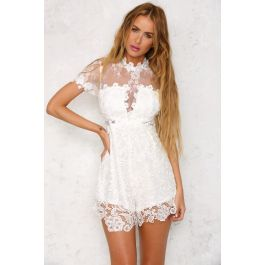 Lace For Days Playsuit White