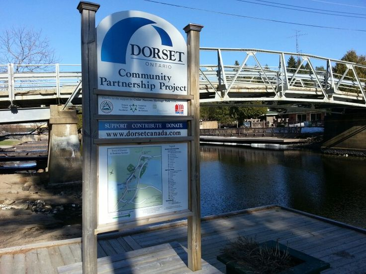 The #DorsetOntario humped back bridge was built in 1914 when the water was raised by the dam in Baysville. The arch was necessary for the passage of large boats. Except for replacement of the decking from wood to concrete, the bridge remains unchanged. Look for the plaque on the bridge from the maker, Western Bridge and Equipment. On the South side of the Bridge the marks remain where the S.S.Iroquois came adrift and hit the bridge. The S.S. Iroquois, one of the mail ships plying the lakes…