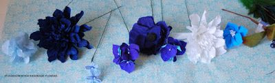 Blue wedding bouquet sampler with delphinium with peacock feather cobalt | Handmade PaPer FloweRs by Maria Noble