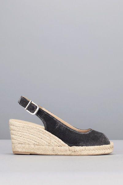 Sandales compensées noires Carles 1