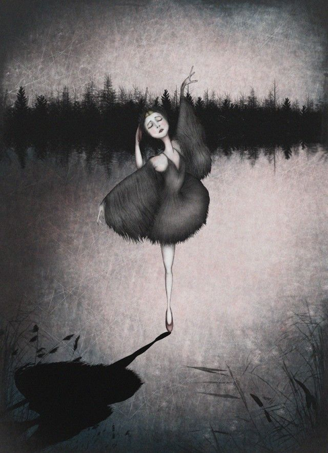 The Black Swan, illustration by Majali Design & Illustration #nordicdesigncollective #majalidesign&illustration #theblackswan #illustration #poster #girl #ballerina #ballet #shadow #dark