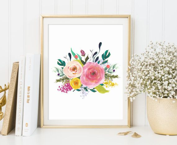 floral wall art print floral nursery print by ArtHomeBoutique