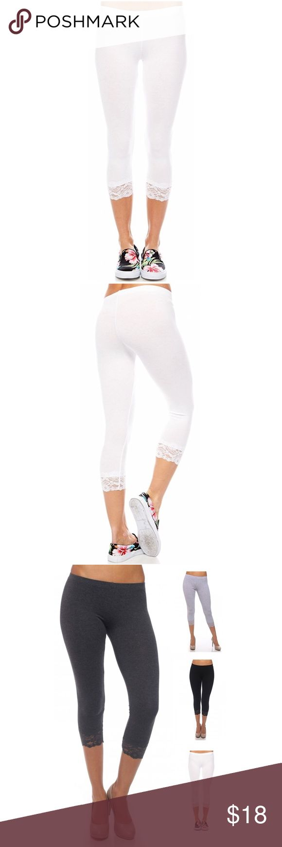 Basic White Lace Trim Capri Leggings Basic White Lace Trim Capri Leggings. Material- 95% Cotton, 5% Spandex. Other colors and styles available, bundle to save. Pants Leggings