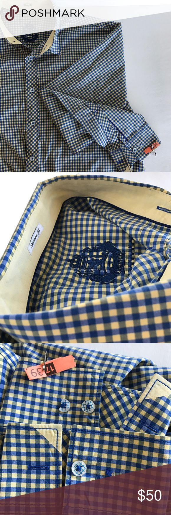 HP 2/6 Bugatchi Dress Shirt Men's Bugatchi Dress Shirt, Size Large, Blue & Yellow Plaid, has a missing button on one arm cuff and a broken button on the other cuff, however the extra buttons are still attached on tag. See pics. EUC, smoke free home. Bugatchi Shirts Dress Shirts
