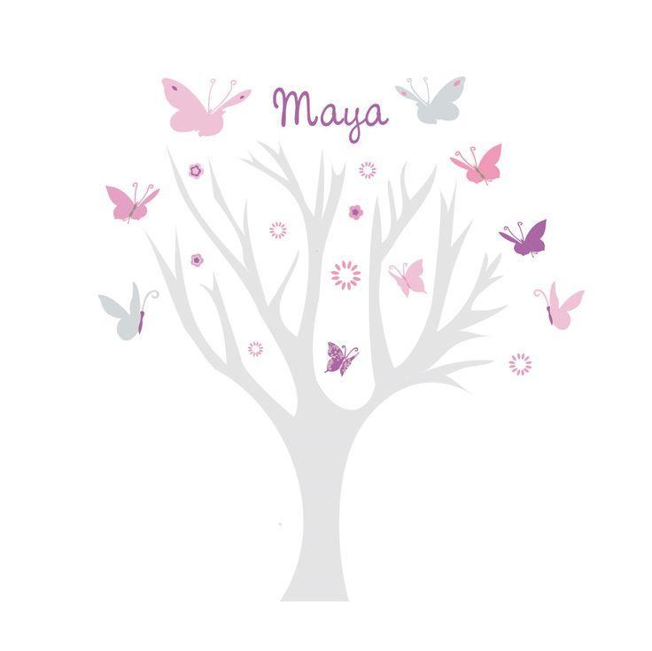 Sticker Arbre personnalisable à papillons parme, rose, gris.