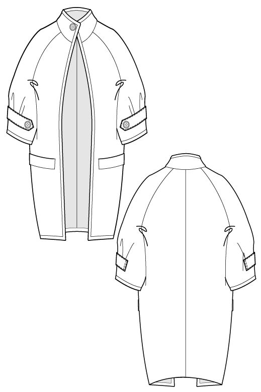 Fari Coat - long cocoon coat. flat drawing by Ralph Pink