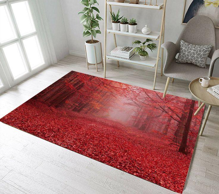 Beautiful Autumn Forest Scenery Area Rugs Bedroom Carpet